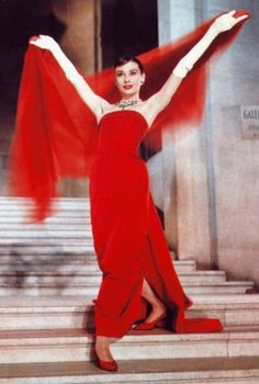 "Audrey Hepburn's amazing strapless red gown by Edith Head, in ""Funny Face."" One of my fave movies!"