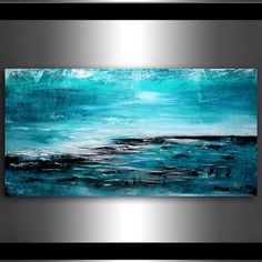 "Seascape Painting 72"" Beautiful Island Turquoise Ocean oil painting on canvas handmade Painting by Maitreyii"