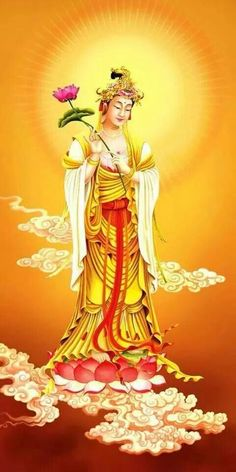 NAMO ĐẠI NIỆM PHẬT VIÊN THÔNG ĐẠI THẾ CHÍ BỒ TÁT . Buddha Kunst, Buddha Art, Buddha Temple, Buddha Painting, Tibetan Art, Divine Mother, Guanyin, Gods And Goddesses, Deities
