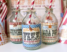 Vintage Circus Drink Bottle Labels - Kids Birthday Party - DIY PRINTABLE FILE by Sassaby on Etsy, $5.50