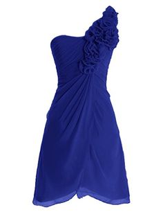 Diyouth One Shoulder Flower Short Bridesmaid Dresses Cocktail Party Gowns Royal Blue Size 12