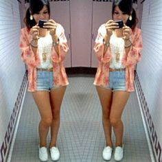Sept 23 '14 #ootd  // kimono from Forever 21 // top from JCPenney // shorts from Hollister // necklace from Forever 21 // shoes from Vans