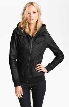 Leather Jacket with Removable Hoodie Liner /  Soia & Kyo