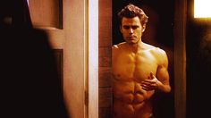 Pin for Later: 21 Times the Men of The Vampire Diaries Revealed Their Glorious Abs When Stefan walks into a room like an angel descending from heaven