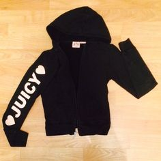 "Juicy Couture Black And Baby Pink Track Jacket Authentic and an uncommon kind of Juicy jacket. This is not like their typical ""track suit"" jackets, this one is not velour. The writing on the arm is in good shape, the heart has some very minor cracking to it. The jacket overall has some light fading, hence the price. This is still a jacket that is in great shape and ready to be worn. Feel free to ask questions! NO TRADES DO NOT ASK. I can include a FREE brown velour track jacket (in great…"