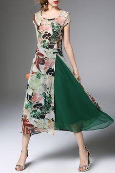High Slit Flower Print Midi Dress with Skirt - GREEN 2XL