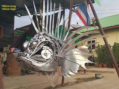 lionfish statue life size animal metal art