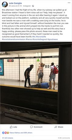 This man jumps on subway tracks to save a fallen blind man Sweet Stories, Cute Stories, Be My Hero, Human Kindness, Touching Stories, Faith In Humanity Restored, Good People, Amazing People, Pics Art