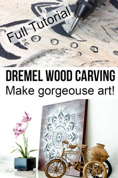 Dremel wood carving is a great way to make engraved wood art. Make a gorgeous DIY mandala wall art using the Dremel tool with this step by step tutorial. Details include how to use a Dremel to carve wood, and stain and give it a unique shine. Awesome Woodworking Ideas, Woodworking For Kids, Woodworking Joints, Woodworking Projects That Sell, Woodworking Workshop, Woodworking Techniques, Woodworking Crafts, Unique Woodworking, Japanese Woodworking