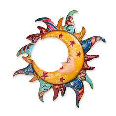 Colorful Metal Talavera Style Sun, Moon And Star Indoor/Outdoor Wall Art Sun Moon Stars, Sun And Stars, Metal Tree Wall Art, Metal Art, Wall Sculptures, Sculpture Art, Sun Wall Decor, Mandala, Outdoor Wall Art