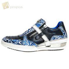 Sneaker Echt Leder 2cm Unisex Handarbeit Custom Made Herren Damen Rot Blau
