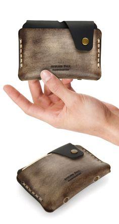 Waxed Brown minimal wallet
