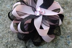 Light Pink and Black Loopy Flower Hair Bow by MyLuckyHairBow