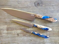 Stainless Steel Knife Set with Figured Maple and Black, Blue and White Resin
