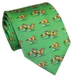 And They're Off Horseracing Necktie - Green Horse Racing Fashion - Neckties - By Bird Dog Bay #and they're off at Horse and Hound Gallery