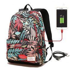 eaa28cf03a6 Women USB charging laptop backpack for teenage girls school backpack bag  Printing Female Backpacks for college students(China)