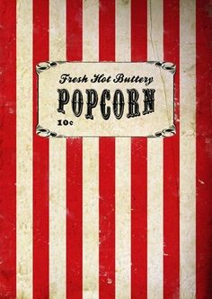 Vintage, Retro, Movie Popcorn Poster, A3 Print, wall art, home decor, film, circus, carnival:Amazon:Kitchen & Home