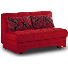 Taylor Loveseat Sofabed, Red - Sofas + Loveseats > Futons (1,895 CAD) ❤ liked on Polyvore featuring home, furniture, sofas, red couch, storage couch, storage sofa, red sofa sleeper and red loveseat