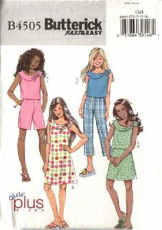 Butterick Sewing Pattern 4505 Girls Plus Sizes 10½-16½ Easy Wardrobe Top Dress Skirt Pants Shorts