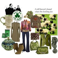 An irish journey, created by neurone on Polyvore ...ok, I could do without the sheep.... the blouse is a cute cut, but no pink... other than that, likey!