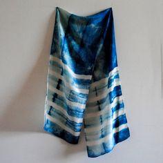 Indigo Shibori Dyed Silk Scarf