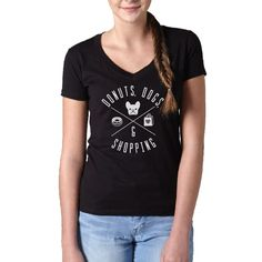 Women's Donuts Dogs Shopping Vneck T-Shirt - Juniors Fit