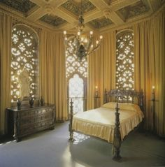 On the other side of the room was an arched wall of windows that reached, in rows and rows of tiny panes, from the high ceiling to the padded gold-and-white-velvet window seat.