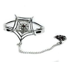 Gothic Spider Web Slave Bracelet w/ ring Jewelry
