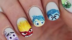 Disney/Pixar's Inside Out-Inspired Nail Art Loading. Disney/Pixar's Inside Out-Inspired Nail Art Crazy Nail Art, Cute Nail Art, Cute Nails, My Nails, Nail Manicure, Cartoon Nail Designs, Disney Nail Designs, Cute Nail Designs, Disney Pixar