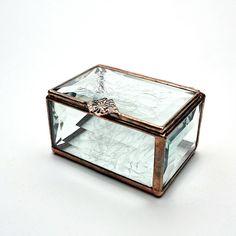 Beveled Glass Box Chip Glass Hinged Lid by RoseMarysGlassArt