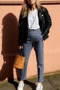 Pants: tumblr printed gingham sneakers white sneakers t-shirt white t-shirt jacket black jacket