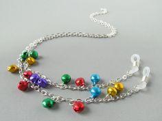 Christmas Eyeglass Chains Bells Silver Eyeglass by HalfSnow