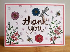 Hand stamped Thank You card with flowers bees and by MaudieMaudie