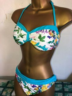Padded Blue Paisley Bandeau Swimsuit Matalan Summer Holiday AC NEW