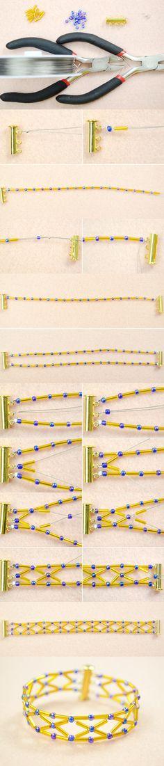 Tutorial on How to Make a Diamond Bugle Bead bracelet with Royalblue Seed Beads from LC.Pandahall.com                  #pandahall
