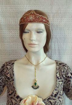 Hurrem Sultan headband flapper handmade hair accessories antique head dress silk beaded   headband by NellyArtDesign on Etsy