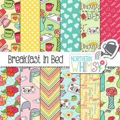 Mother's Day Digital Paper  Breakfast In by NorthernWhimsyDesign