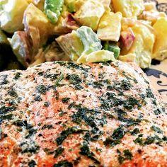 Homemade potato salad and wild caught sockeye salmon.  All organic! . . . . #vegetarian #prescetarian #organic #healthy #fitness #myweightlossjourney #mindfuleating  #mindful #mindfulness #fitnessmotivation #allnatural #veggies #followforfollow #eater #realsimple #foodpost #foodporn #cleaneating #eatclean  #skinnytaste #healthyfood #forksoverknives #plantpowered #plantbased