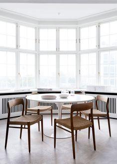 tulip table, danish modern chairs