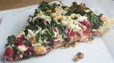 Beet pizza with goat cheese, walnuts, and kale. A healthier and more ...
