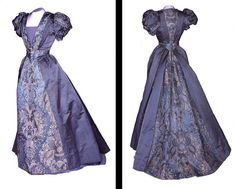 ravensquiffles:  Evening dress, blue satin and 18th century brocade c. 1892 Bowes Museum