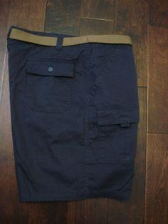 NWOT Mens  Size 46 St. Johns Bay NAVY Cargo Walking/Hiking Shorts Belted   #StJohnsBay #Cargo