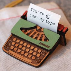 For that special someone. Typewriter Brooch, via Etsy.