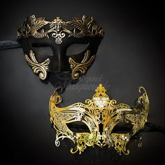 Elegant Gold Themed Half Mask Masquerade Party - Couples Masquerade Collection  Pricing is for both phantom (male) and laser cut (female) masks! Sweet