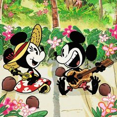 Those tropical vacay vibes. 🎶☀️🌺🌴 Where's your favorite getaway? Mickey Mouse 2013, Mickey And Minnie Love, Minnie Mouse Pictures, Mickey Mouse Shorts, Mickey And Friends, Disney Dream, Disney Love, Disney Art, Disney Family