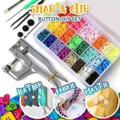 Snap Button DIY Set (150 Pcs Set) Sewing Projects, Projects To Try, Diy Buttons, Painting Tools, Leather Fabric, Fasteners, Rainbow Colors, Handicraft, Diy Crafts