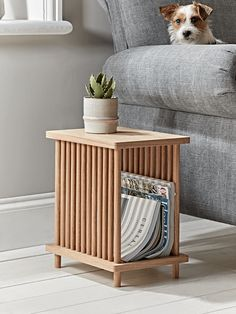 With the white oak finish characteristic of Scandinavian pieces, our Magazine Side Table marries function and form effortlessly in its design. A contemporary side table complete with feature solid oak spindles to contain all of your favourite magazines. Side Table Decor, Side Table With Storage, Sofa Side Table, Wooden Side Table, Small Side Tables, Bed Side Table Ideas, Narrow Side Table, Side Tables Bedroom, Oak Table