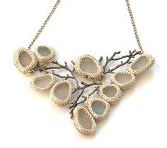 Bib Sea glass necklace twig necklace ooak bride jewelry by astash