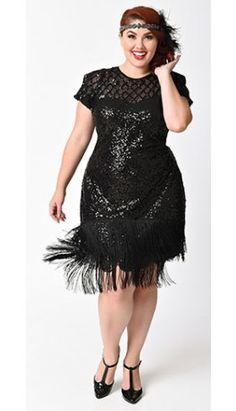 Unique Vintage Plus Size 1920s Black Sequin Fringe Del Mar Flapper Dress