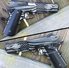 NICE .45 ACP, With An AWESOME American EagleFlag In Black N' White Design, NICE GUN!!!....???.... ;)